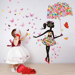 Alrens 57 x 67 Inch Flower Umbrella Butterfly Girl Wall Stic