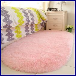 Fluffy PINK Area Rugs For Bedroom Girls Rooms Kids Nursery D