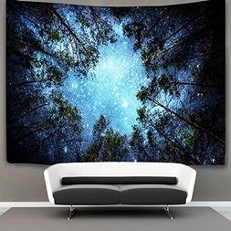 Forest Starry Tapestry Wall Hanging 3D Printing Forest Tapes