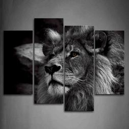 Framed Black And White Gray Lion Portrait Canvas Print Wall