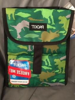 PackIt Freezable Lunch Bag box Green Dinosaur Top closure co