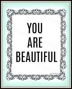 Funny bathroom print Mirror Bedroom wall decor You are Beaut