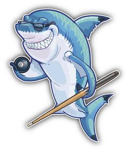 Funny Shark Pool Player Car Bumper Sticker Decal - 3'', 5''