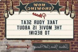 Funny Tin Sign - Now Showing Movie Theater  | Garage, Kitche