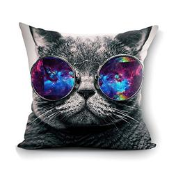 oFloral Galaxy Hipster Cat Theme Throw Pillow Cover Funny Ca