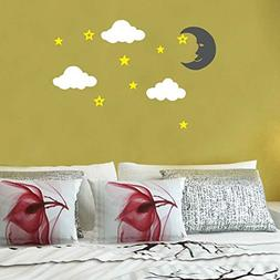 Amaonm Giant Large Cartoon Vinyl Black Moon White Clouds Yel