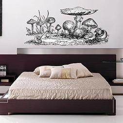 "Giant Mushrooms Wall Decal - Pen and Ink Style - 28"" tall x"