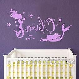 BATTOO Girls Name Wall Art Sticker- Mermaid Wall Decals with