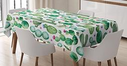 Ambesonne Green Decor Tablecloth by, Mexican Texas Cactus Pl