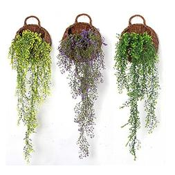 Xiaolanwelc@ Green Hanging Plant Plastic Artificial Weeping