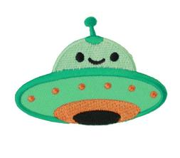 Green Smiley Ufo Iron On Patch For Kids Baby - High Quality