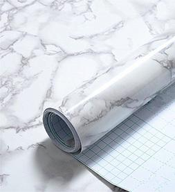 Grey Marble Look Contact Paper Gloss Film Vinyl Self Adhesiv