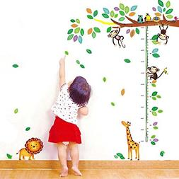 MyLifeUNIT Growth Chart Decal, Monkys Owls Giraffe Lion Forr