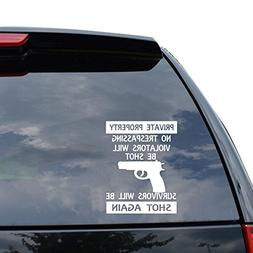 GUN WARNING PRIVATE PROPERTY Decal Sticker Car Truck Motorcy