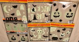 Halloween glow in the dark reuseable window gel clings - new