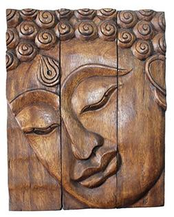 Hand Carved Wooden Thai Buddha Face Wall Art Plaque Hanging,