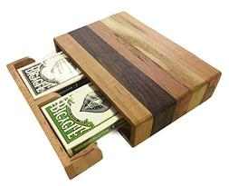 Handcrafted Wooden Playing Card Storage Box - Includes Two D