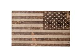 Handmade Wooden Official American Flag w/Blue Stripe - Made