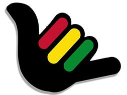 American Vinyl Hang Loose Hand Shaped with Rasta Stripes Sti