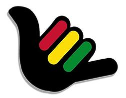 Hang Loose Hand Shaped with RASTA Stripes Sticker - Sticker