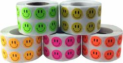 Happy Face Circle Dot Stickers, 1/2 Inch Round, 1000 per Rol