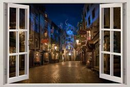 Harry Potter Diagon Alley Night 3D Window View Decal WALL ST