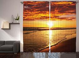 Hawaiian Decor Curtains By Ambesonne, Scenery Picture Print