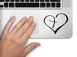 Heart with Cross Symbol Decal Funny Laptop Skin Macbook Trac