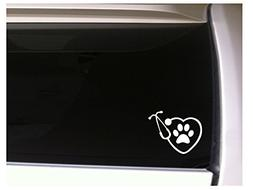 """Heart Stethescope with Paw Print 6.5"""" Vinyl Sticker Decal *L"""