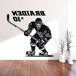 Hockey Wall Decor - Personalized Player With Stick - Vinyl S