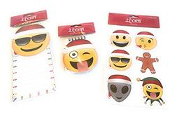 Holiday Emoji Notepad, Spiral Notebook, and Stickers Bundle,
