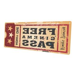 Home Cinema Movie Ticket  Metal Sign; Wall Decor for Home Th