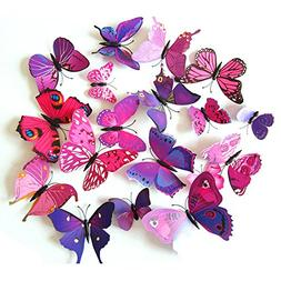 Webetop Home Decor 24pcs 3d Fashion Lively Butterfly Wall St