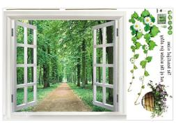 SODIAL Huge Window 3D Green View Flowers Plant Wall Stickers