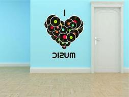 Design with Vinyl I Love Music With Heart Vinyl Wall Decal M