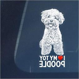 I Love My Toy Poodle Clear Vinyl Decal Sticker for Window, M