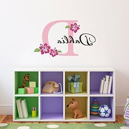 Initial & Name Wall Decal with Hibiscus Flowers - Hawaiian W