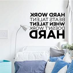 Motivational Wall Decal Quote - Hard Work Beats Talent - Vin