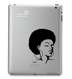 Ipad Decal Afro Woman - BLACK - STICKER - DECAL - SKIN - FOR
