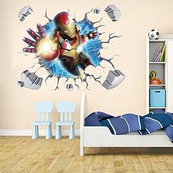Iron Man Through-Wall Stickers With Decor Decal Art Removabl