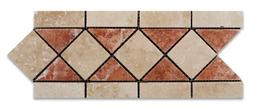 Ivory & Rojo Travertine Tumbled Trojan Border / Listello - 6