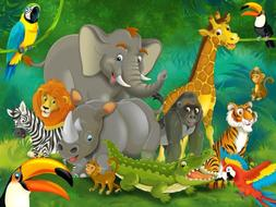 Jungle animals wall decoration - Mural jungle and animals Mo