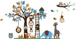 Jungle Zoo Meeting on a Tree Owl, Monkey Wall Decal for Kids