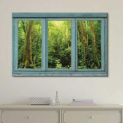 Wall26 - Vintage Teal Window Looking Out Into a Green Jungle
