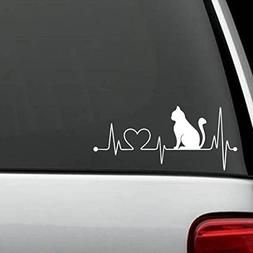K1011 Cat Heartbeat Lifeline Love Decal Sticker ...