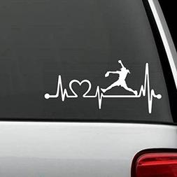 K1073 Softball Girl Pitching Heartbeat Lifeline Decal Sticke