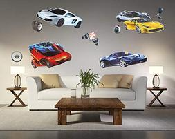 Kid's Room Decor 3D Wall Decals Sportscar Series Removable P