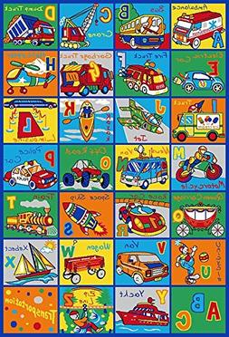 Kids Rug ABC Transportation Area Rug 5' x 7' Educational Chi