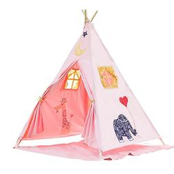 BATTOP Kids Teepee Tent Cotton Canvas Two Window Classic Sty