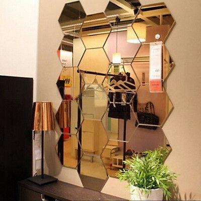 12Pcs 3D Mirror Vinyl Removable Wall Sticker Decal Home Deco